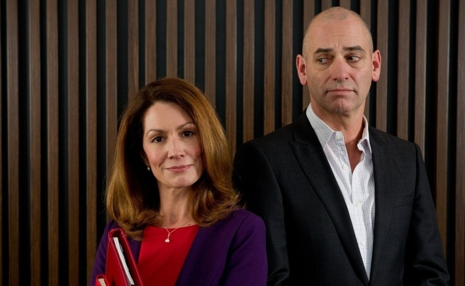 Kitty Flanagan as Rhonda and Rob Sitch as Tony in Utopia